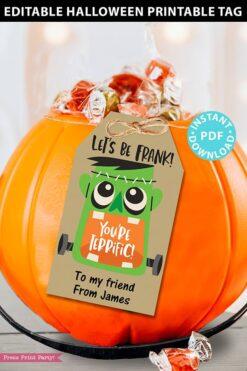 EDITABLE Halloween Tag Printable, Frankenstein You're Terrific, Halloween Party Favors, Goodie Bag, Kids Halloween Treat, INSTANT DOWNLOAD