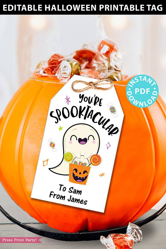 eDITABLE Halloween Tag Printable Template, You're Spooktacular Ghost, Halloween Party Favors, Kids Goodie Bag, Treat Tag, INSTANT DOWNLOAD