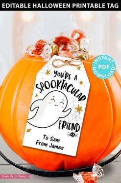 EDITABLE Halloween Tag Printable Template, Spooktacular Ghost, Halloween Party Favors, Treat Goodie Bag, Kids Halloween, INSTANT DOWNLOAD
