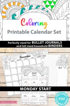 MONDAY Start 2022 Printable Calendar Template Set, Adult Coloring Pages, Bullet Journal Printable, Monthly & Daily Routine, INSTANT DOWNLOAD press print party