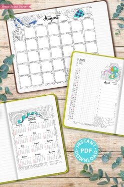 2022 Printable Calendar Template Set, Adult Coloring Pages, Bullet Journal, Monthly Calendar, Daily Routine Tracker, INSTANT DOWNLOAD Press Print Party