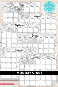 MONDAY Start 2021-2022 Monthly Calendar Printable, Monthly Planner Template, Adult Coloring Pages, Bullet Journal, INSTANT DOWNLOAD press print party