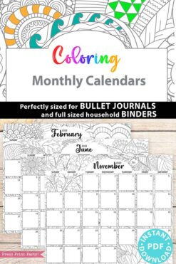 2021-2022 Monthly Calendar Printable, Monthly Planner Template, Adult Coloring Pages, Bullet Journal, Sunday, INSTANT DOWNLOAD press print party