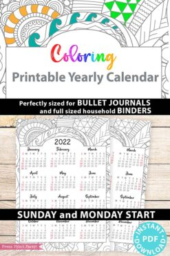 2022 Yearly Calendar Template Printable, Adult Coloring Page, Bullet Journal Printable Calendar Insert, One Page Calendar, INSTANT DOWNLOAD