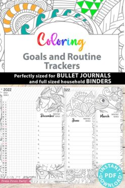 2021-2022 Daily Routine Printables, Habit Tracker Printable, Adult Coloring, Bullet Journal, Daily Tracker Goal Planner, INSTANT DOWNLOAD