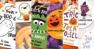 halloween treat bag tags, halloween treat bag labels and bag toppers Press Print Party