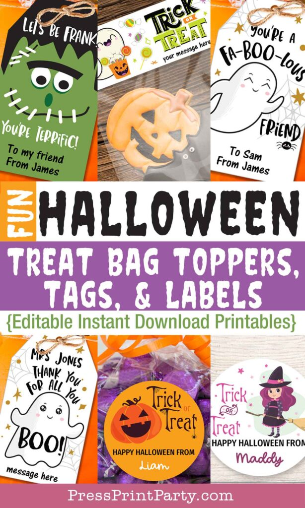Fun halloween treat bag toppers tags and labels. editable printable download printables - Press Print Party!