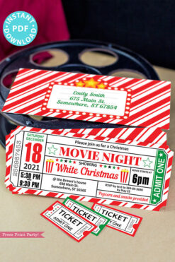 Christmas Movie Night Invitation Printable Ticket, Editable Christmas Party Invite, Ticket Stub, Movie Ticket Template, with envelope - INSTANT DOWNLOAD