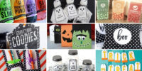 Collage of free halloween printables