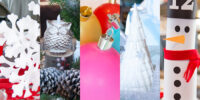 5 diy Christmas table centerpieces for home or church banquet. original all 5 pictured, snowflakes, owl, ornaments, white tree, snowman - Press Print Party!