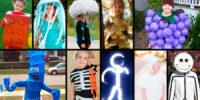 last minute halloween diy costumes for kids - led stick man, flailing arm man, skeleton, stick figures, lamb, jellyfish, owl, ghost.